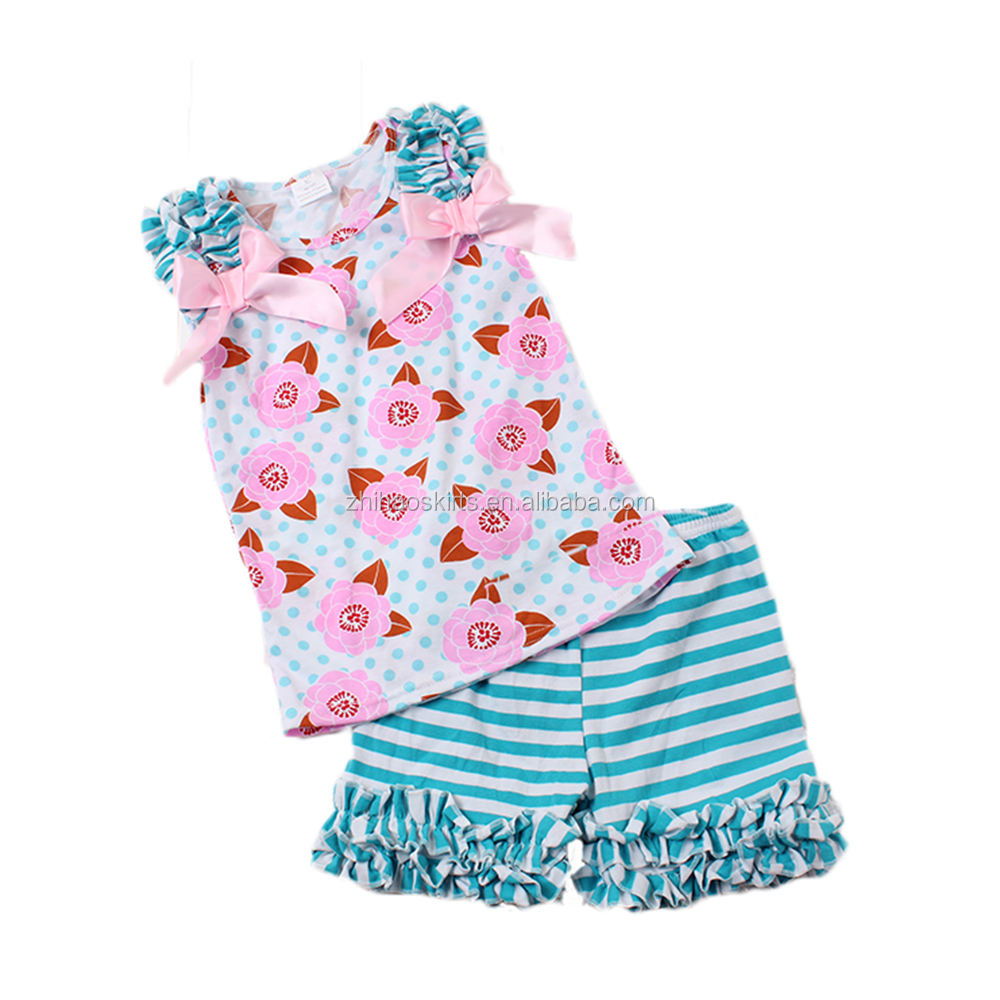 baby cotton frocks designs floral print polka-dot sleeveless top match stirpe shorts kids export clothing baby clothing