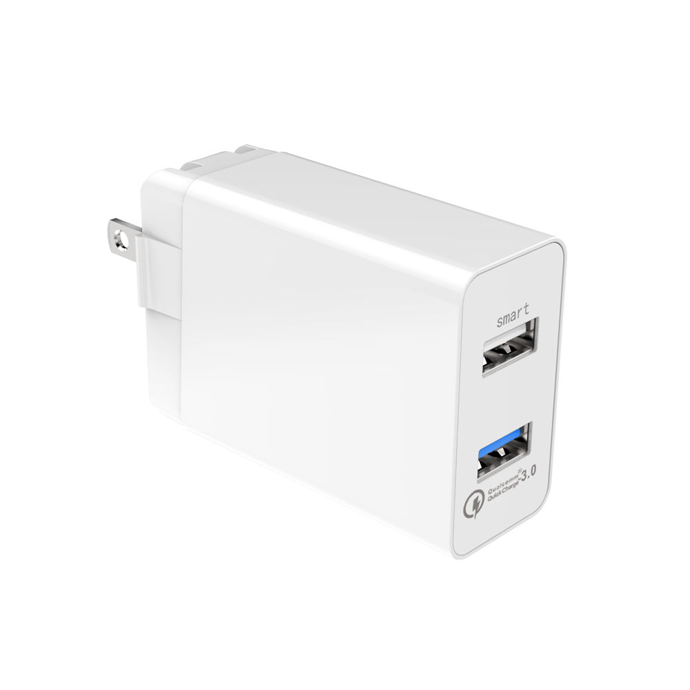 2 Port QC3.0 with 2.4A US Fast USB Charger with Foldable Plug