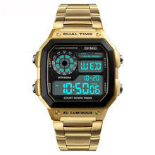 Trend 2020 Skmei 1335 Rose Gold Stainless Steel Watch Popular Digital Gold Wrist Watch