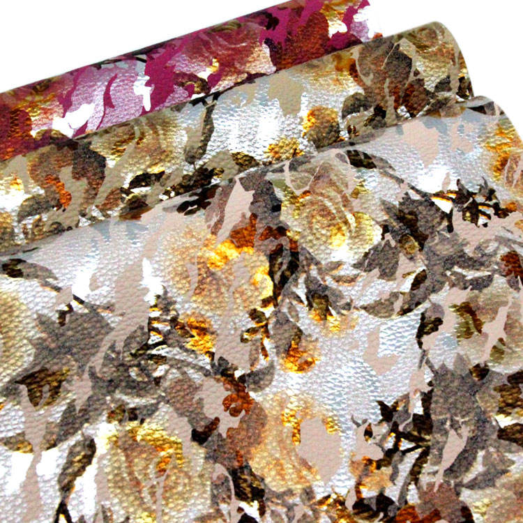 print litchi grain floral fabric flower on leather for making shoes handbag