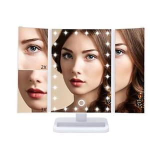Dual Power Supply 3X/2X Magnifying Touch Sensor Makeup Vanity Mirror with 21 LED Lights