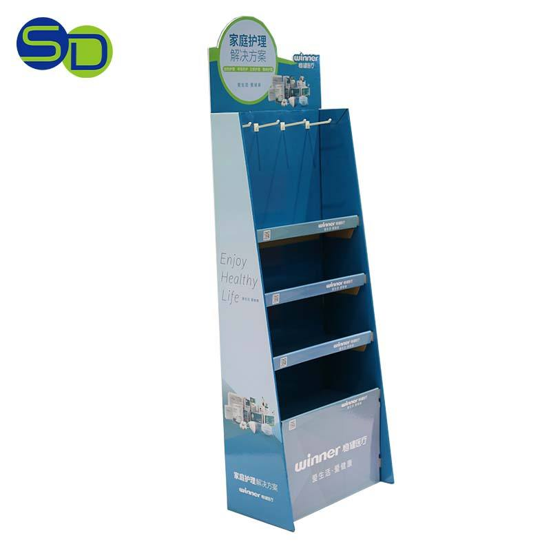 Paper Display Stand / Pop Customer Display Stand with 3shelves for Promotion