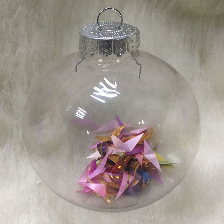 Clear Bauble Ornament Gift Christmas Plastic Round Ball