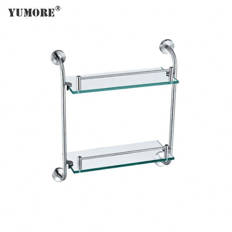 Factory bathroom accessories modern cabinet corner metal clamp clip panel brass chrome aluminium glass shelf supports