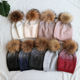 Bling Bling Diamond Rhinestone Knitted Women Winter Hat With Real Raccoon Fur Pom Pom