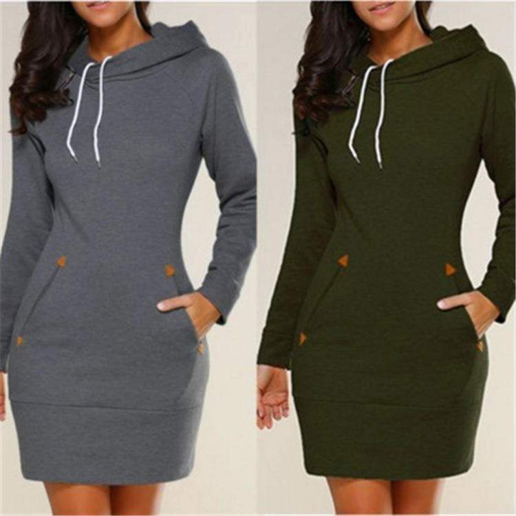 Solid Color Hooded Dresses Pocket Slim Long Sleeve Autumn Mini Dress Sport Wear S-5XL Women Clothings