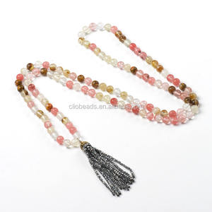 CB48170 Fashion Mixed Color Cherry Quartz Tassel Pendant Necklace