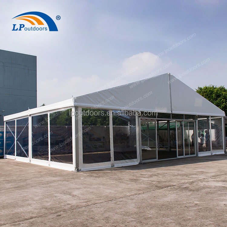 12m clear span christmas transparent outdoor wedding event tent with slider door for 500 people