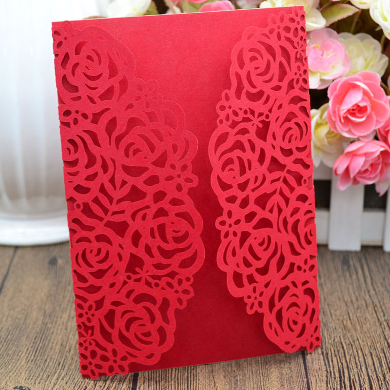 2018 Customized Flower Love Theme Happy New Year Greeting Laser Cut Invitation Card For Wedding