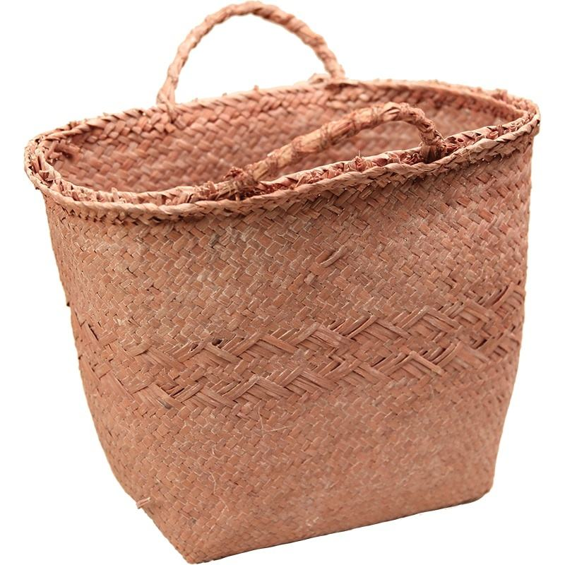 Flower Basket Retro Style Natural Straw Woven Craft Basket Decor