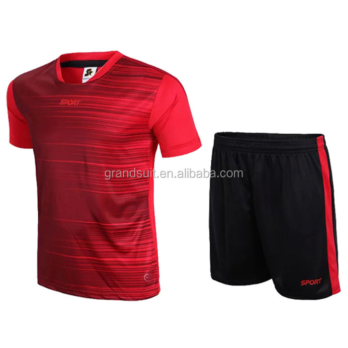 Hot sale plain football shirts top quality huge stocks soccer uniform for cheap price jersey set