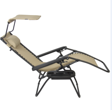 2018 Black Zero Gravity Lounge Chair with Canopy and Cupholder