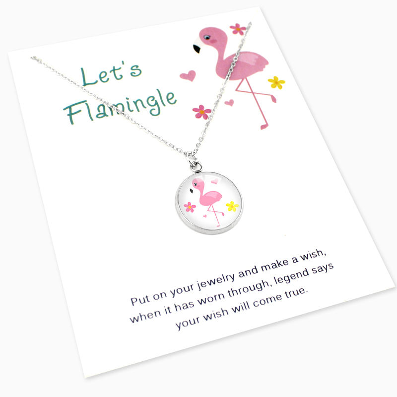 선물 대 한 짱 Birthday Wedding 들러리 Gift Silver Plated 문 Jewelry Flamingo 펜 던 트 Necklaces 대 한 Women