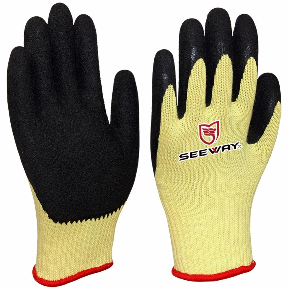Anti-cut [ Rubber Gloves ] Cut-resistant Glove Seeway Blue Grip Natural Rubber Cut-Resistant Work Gloves
