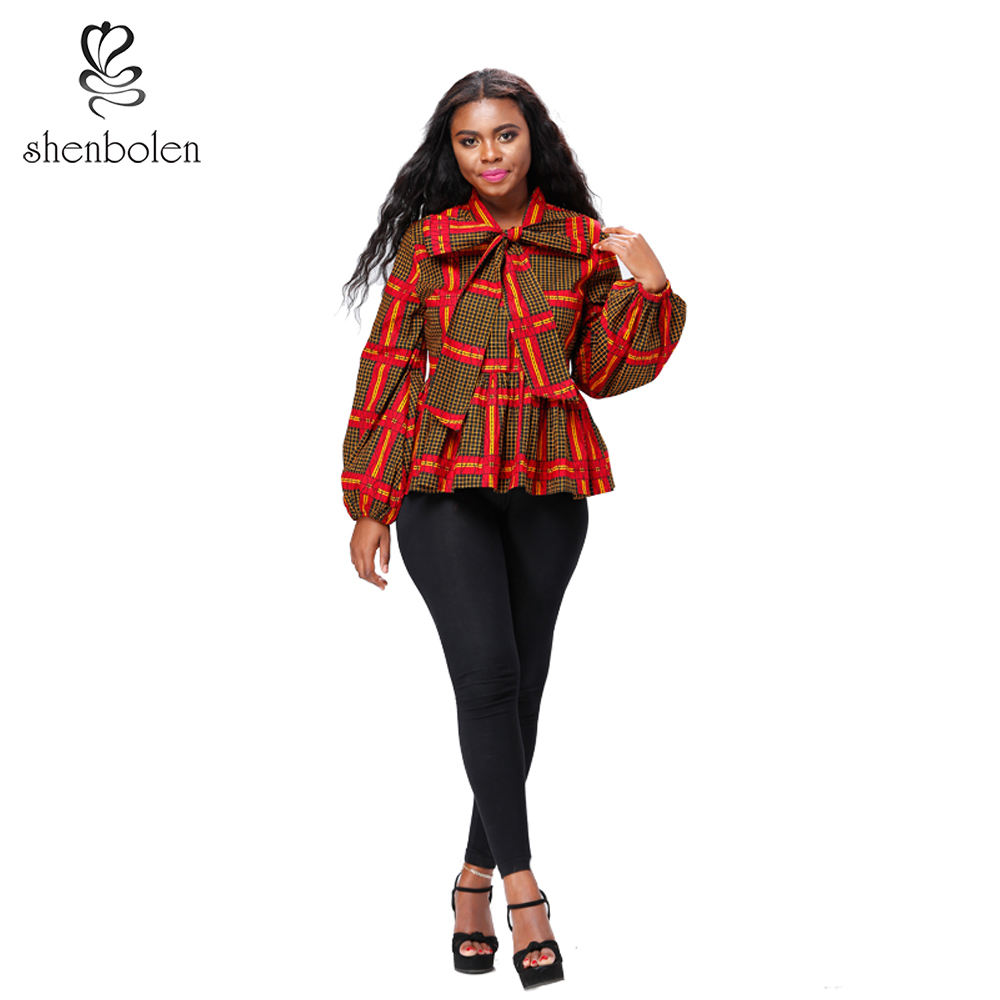 Custom African Clothing Long lantern Sleeve Women Blouse wax print top