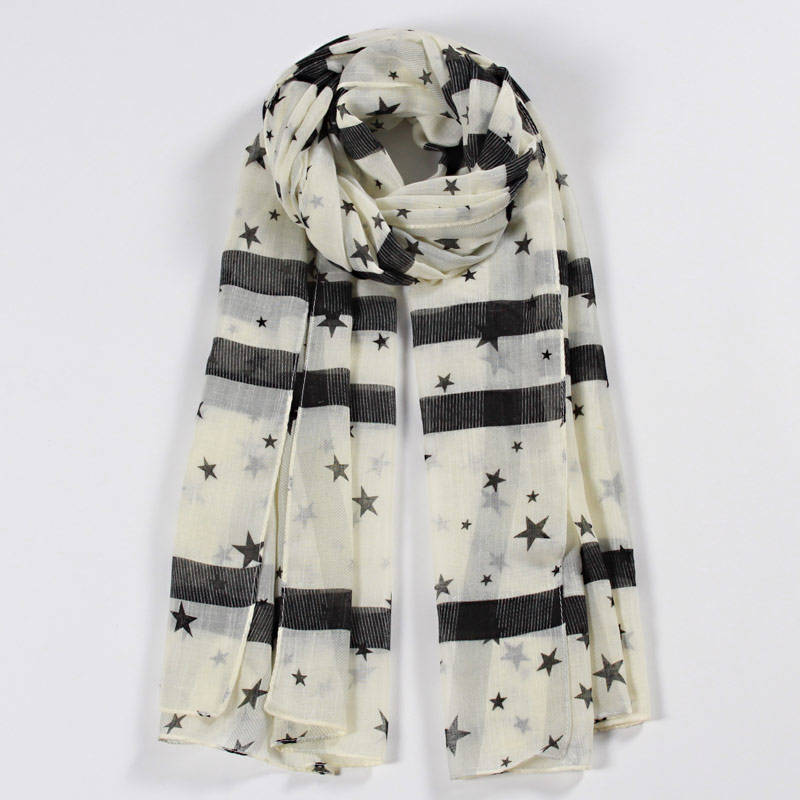 RM108 Women New Design China Printed Star Pattern Cotton Scarf