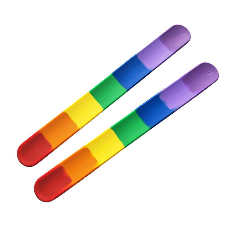 Factory custom Kids rainbow PRIDE silicone slap bracelets rubberreflective snap wristband