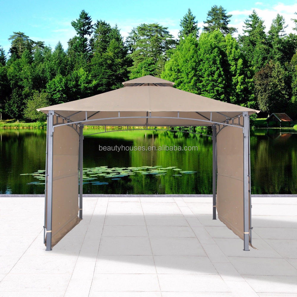 2 Tiered Vented Double Roof Polyester Fabric leisure ways Outdoor Patio Garden Gazebo with Two Side Sunshade Walls