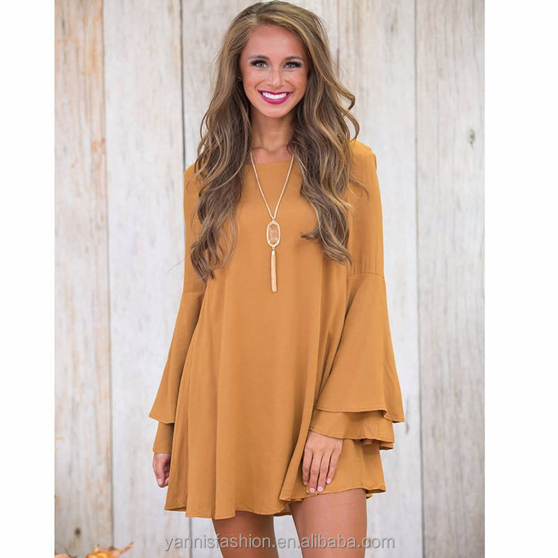Women Long Flare Sleeve Dresses Backless Brief Solid Color Loose Casual A line Dress