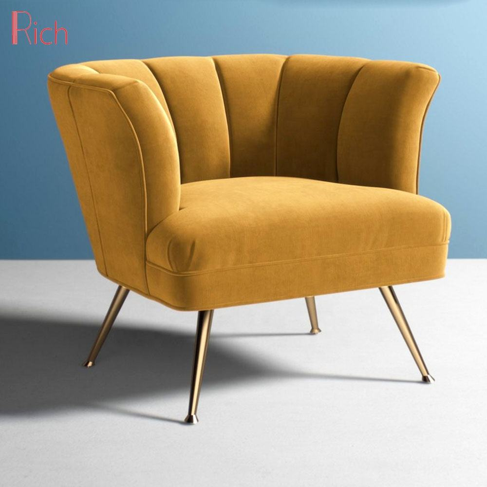 Living Room Yellow Fabric Single Couch Metal Polished Gold Legs Mustard Color Velvet Sofa