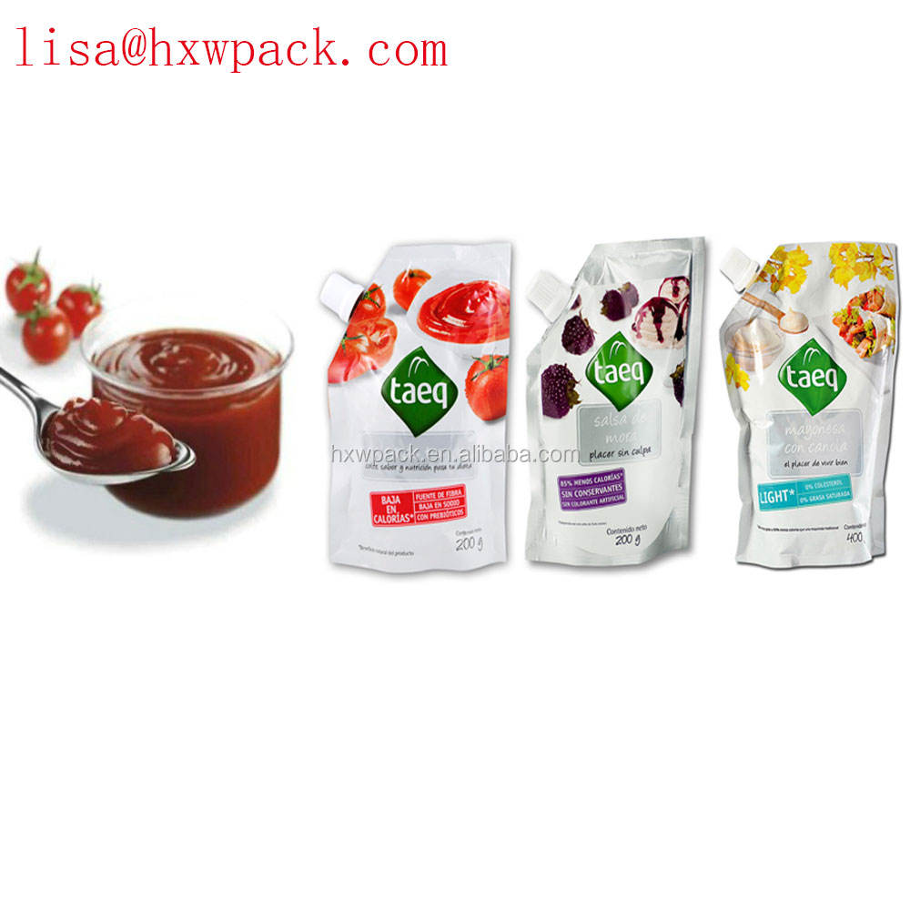 plastic bag for sauce packing with spout stand up ketchup pouch, tomato sauce packing sachet