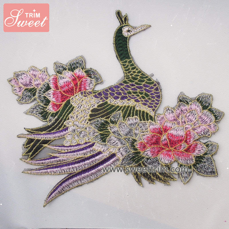 custom plain phoenix pattern embroidery stitches patches for dress