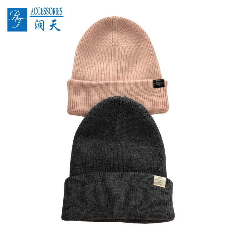 Skully kabel knit roze hoed leeg custom label beanie
