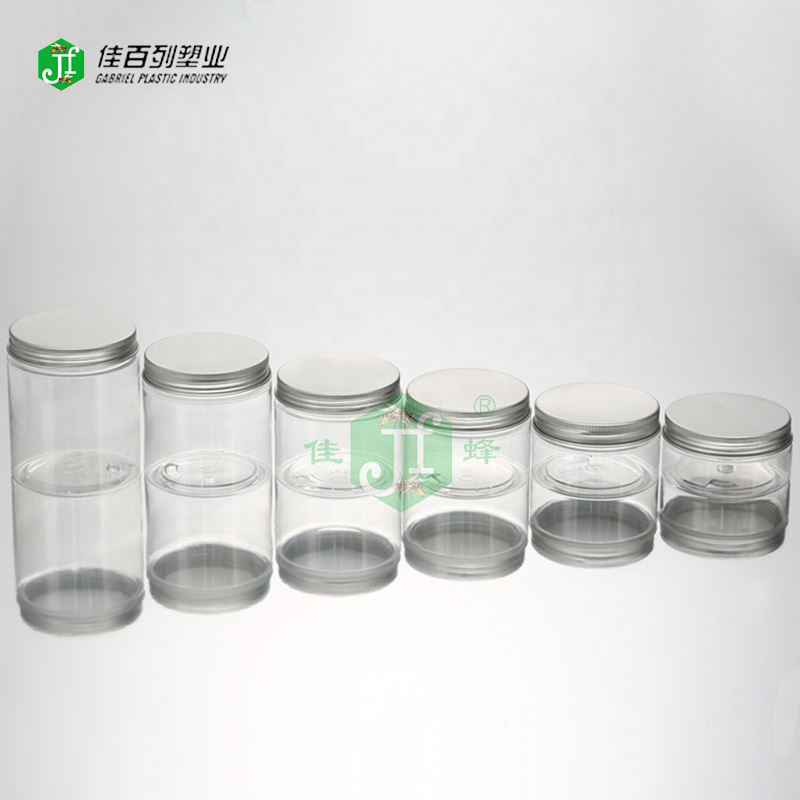 Hot sale sliver aluminium lid round clear jar food grade 100 200 300ml pet plastic food jar