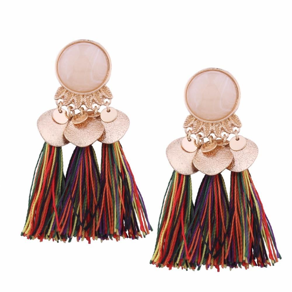 Fashion Colorful tassel earrings discount gemstone earring wholesales H-0012A