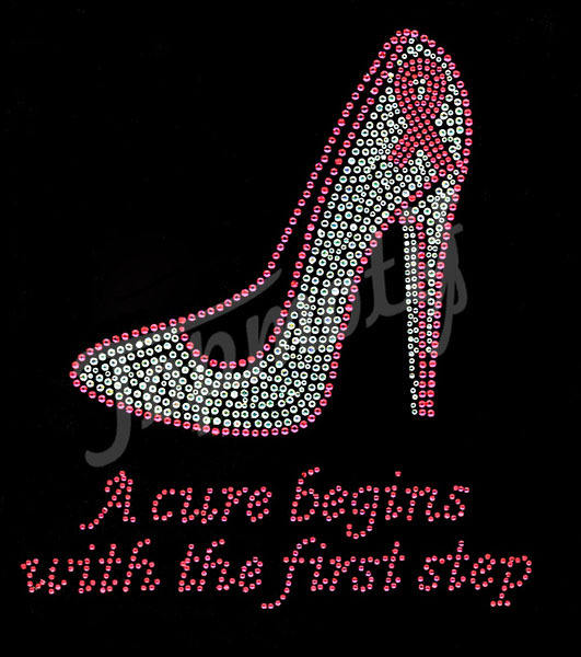 A cure begins with the first step Heel Cancer Ribbon Rhinestone Transfer