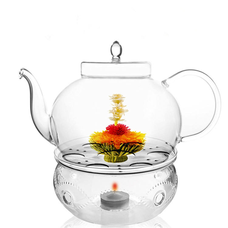 Tea Services Teapot Polo 45 Oz and Glass Tea Warmer Wave Large Glass Teapot With Infuser
