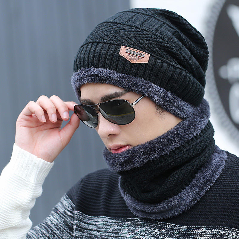 China Factory Men Outdoor Sport Winter Knitted Thick Warm Fleece Beanie Hat with Scarf Set