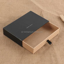 Customized black drawer box packaging with ribbon in China