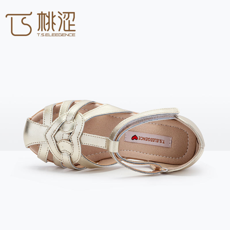 2017 Sandal Design Style KInd Nude Gold Silver Brown Full Toe Stripe Girls Flat Sandal