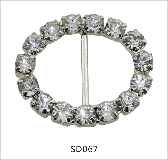 Rhinestone Twisted Bikini Connector Buckle Diamante Ribbon slider Silver tone