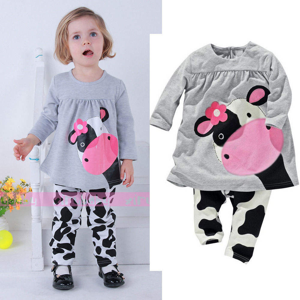 GX435A autumn 2pcs pajamas sleepwear girl children milk cow hoodie dresses tight pant clothing set for clearance