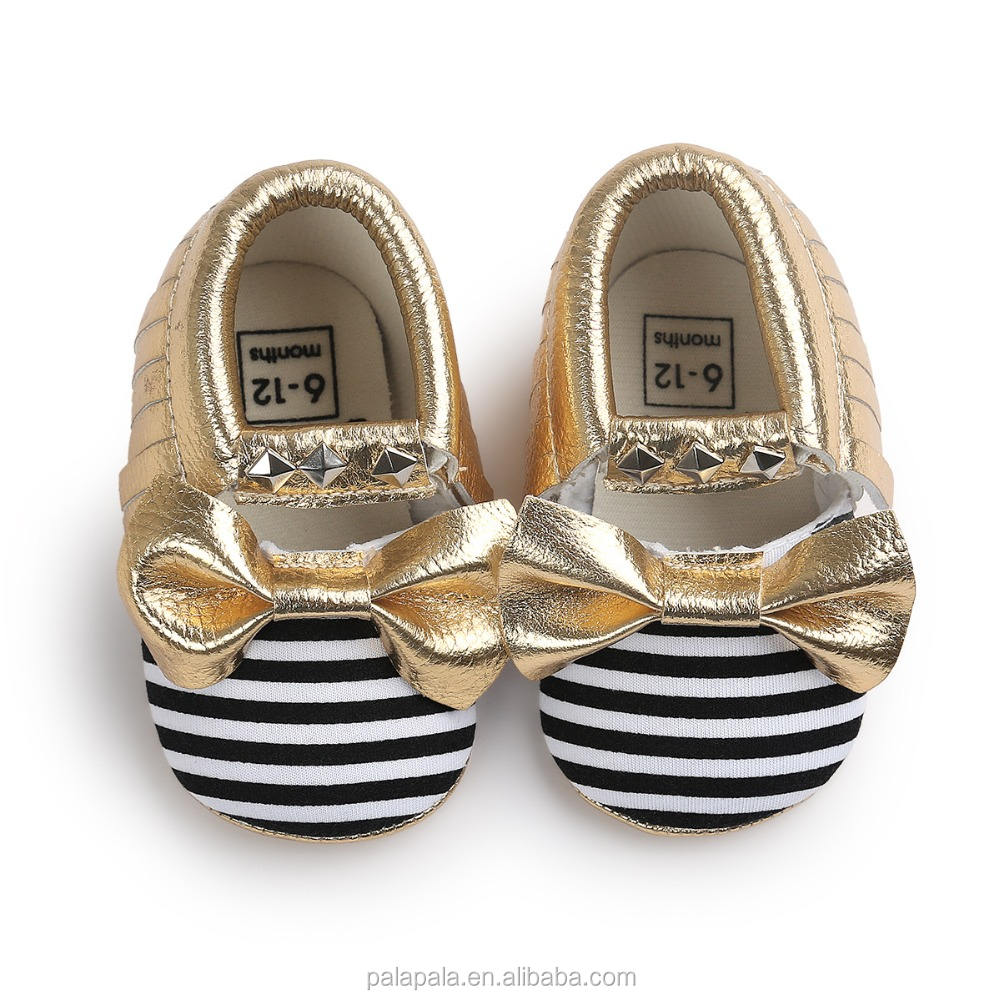 new designs mary jane Striped Cheap Fancy Baby Girls Shoes Rivet gold bow PU Leather baby moccasins shoes kids