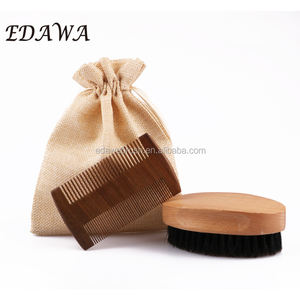 Men Beard Grooming Care Set Beard Comb and Brush Kit With Boar Bristle Brush and Beech Wood Comb