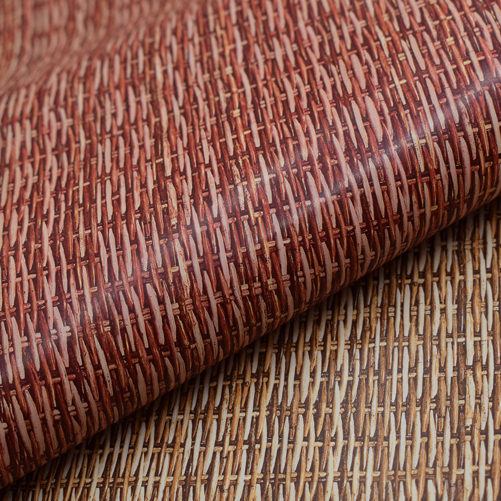 Grass weaving Design Printing 0.9mm Embossed PVC artificial Leather Waterproof