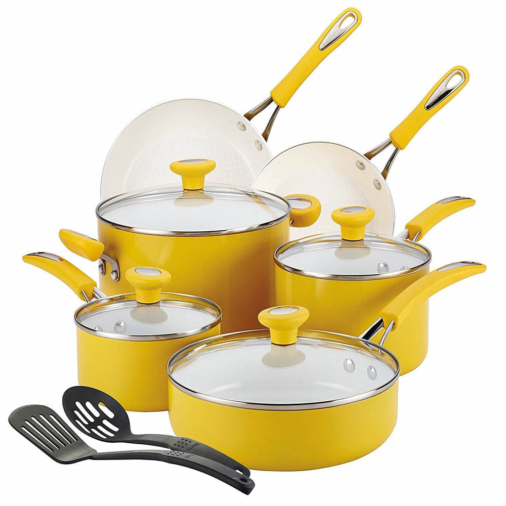New design aluminum 12PCS pressed cookware pot set Free oil and Eco-friendly ceramic cookware sets with SS handle and silicone