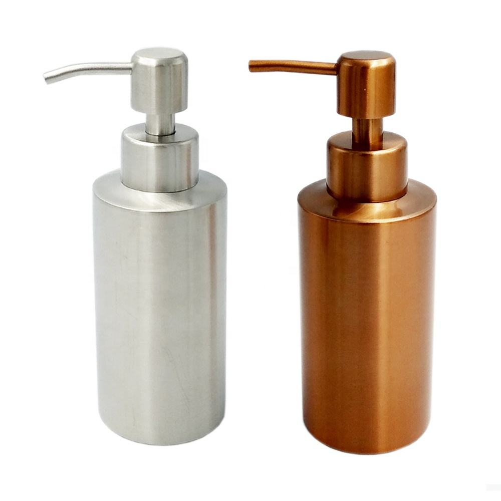 250ml hot sale cylinder shape multi color 304 stainless steel shampoo hand soap dispenser