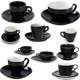 Beautiful China Black Color Glazed Logo Decal Artwork Design Printable Coffee Tea Cups and Saucers Sets