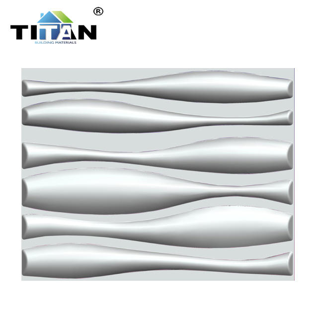 Wall Art Decorative PVC Material White Wave Design PVC 3d Wall Panel