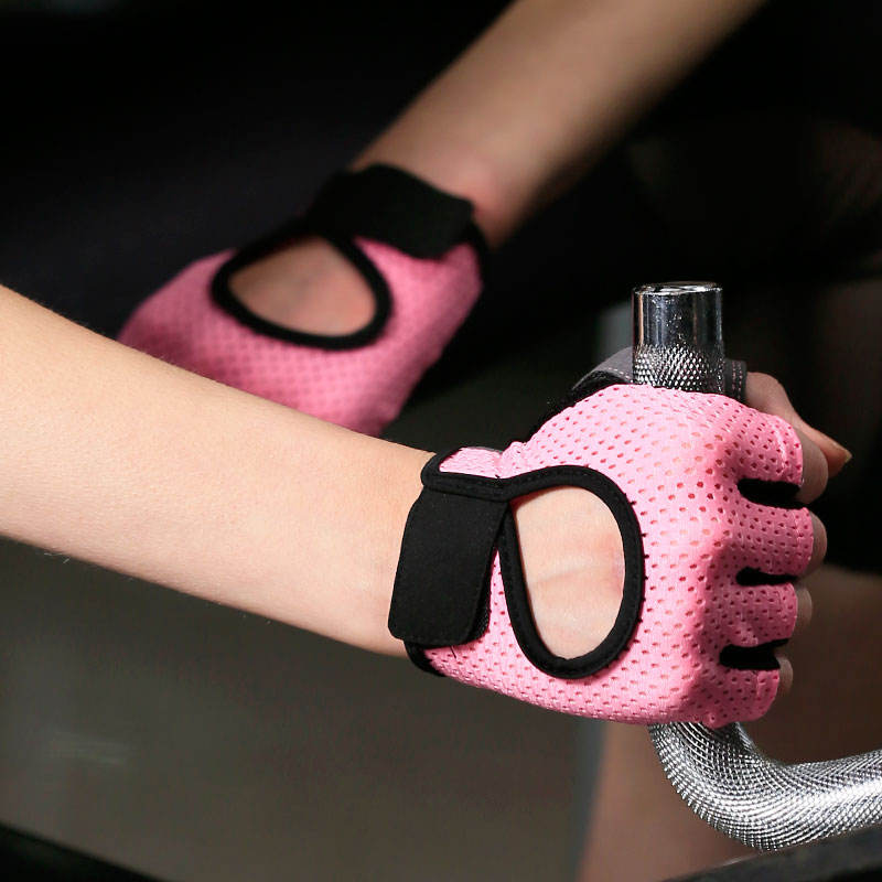 Wholesale bodybuilding pink dumbbell gym fingerless gloves for women