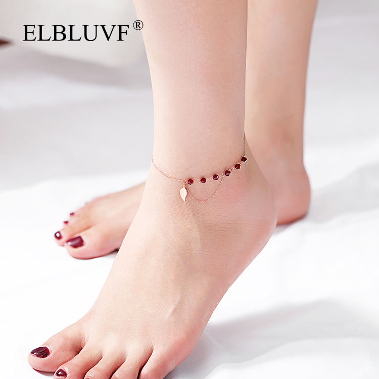 ELBLUVF Free Shipping Stainless Steel Jewelry Rose Gold Plated Leaf Shape Red Zircon Tassel Anklet