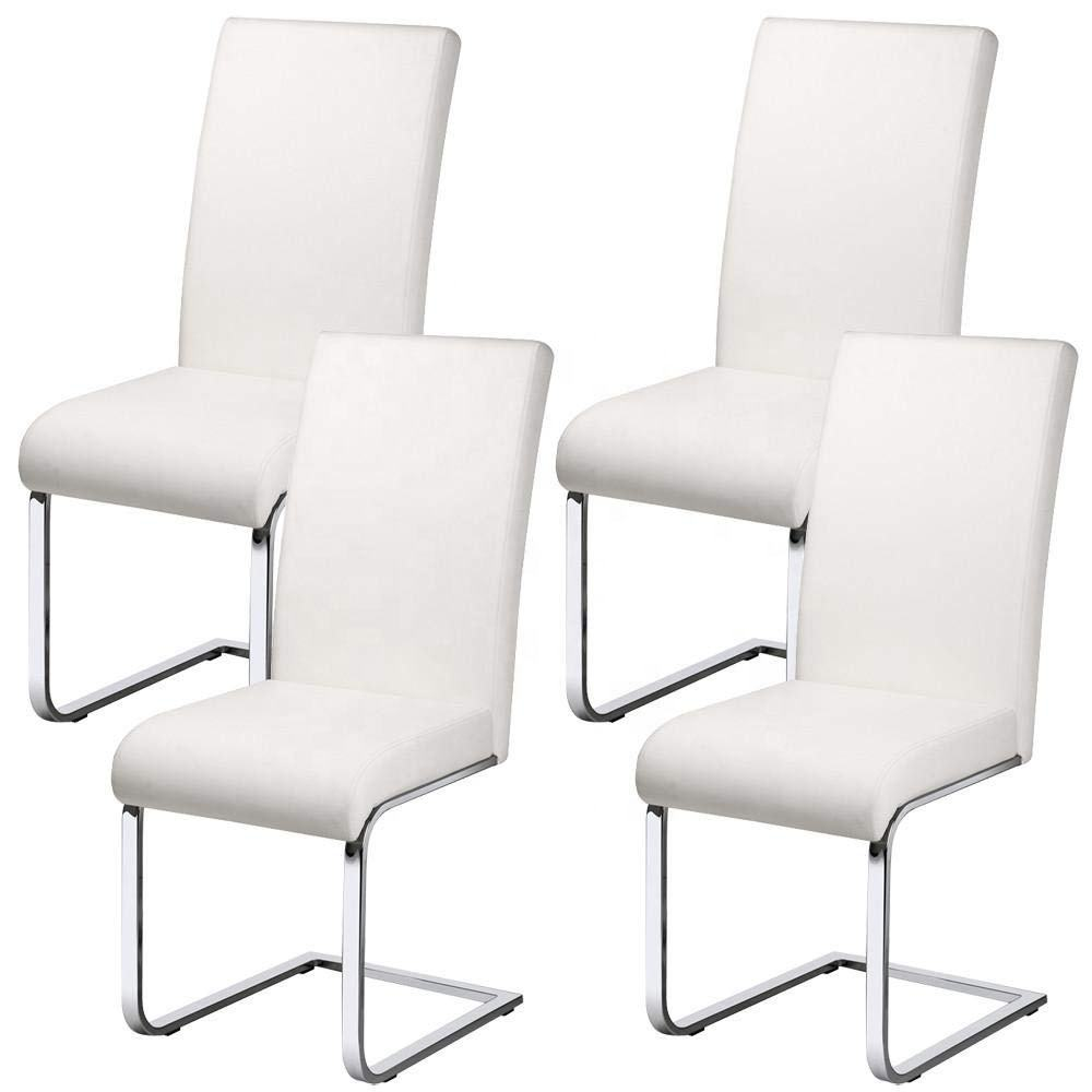 Modern stainless steel restaurant armless high back upholstered dining chair white leather