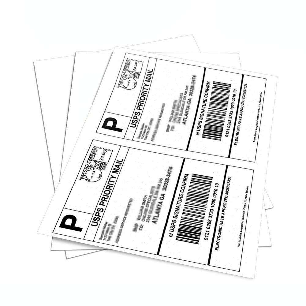Half Sheet Self Adhesive Shipping Labels for Laser Inkjet Printers, 200 Count