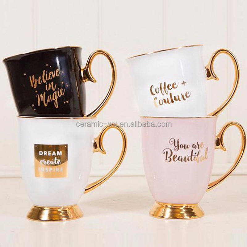 gold foil mug and gold lip coffee cup and saucer