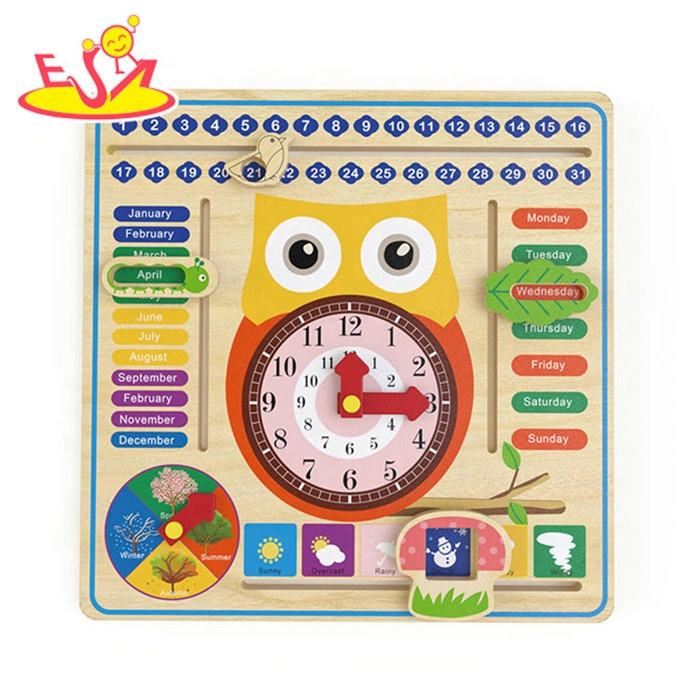 2019 New arrival children wooden learning time clock for preschoolers W09F018