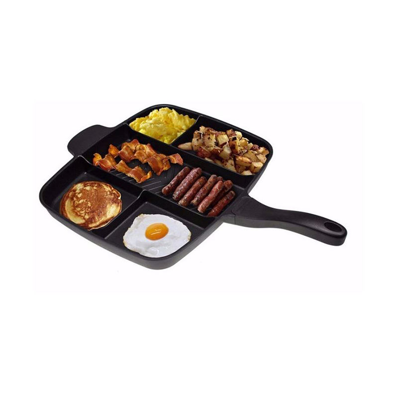 Sectioned Pan 5 Section Kitchen Skillet Square Master Divided Cooking Aluminum Grill Non Stick Frying Pan